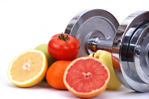 Assorted fresh fruits and vegetables , fitness concept